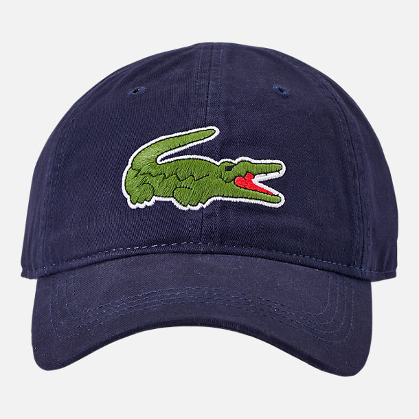 Back view of Lacoste Big Croc Gabardine Strapback Hat in Navy/Green