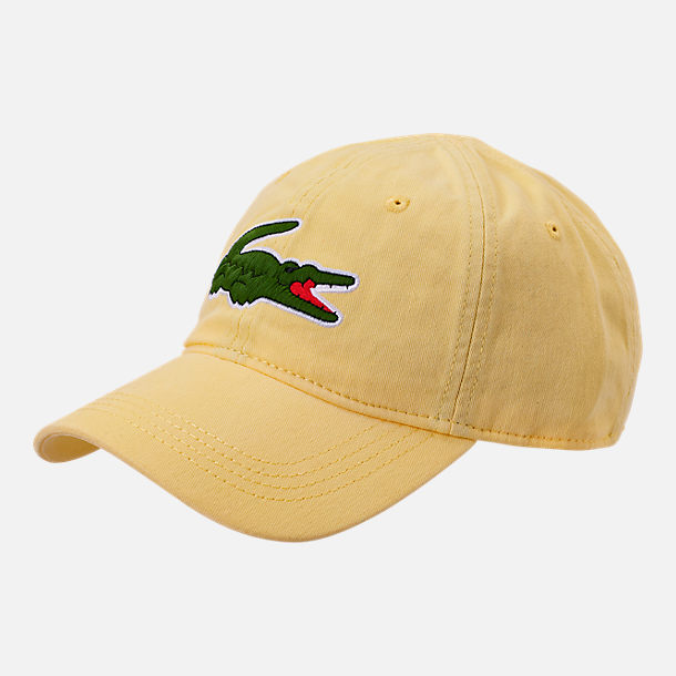 2866a011f15b Front view of Lacoste Big Croc Gabardine Strapback Hat in Yellow Green
