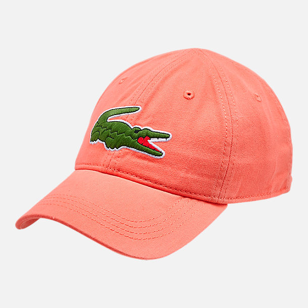 Front view of Lacoste Big Croc Gabardine Strapback Hat in Dianthus