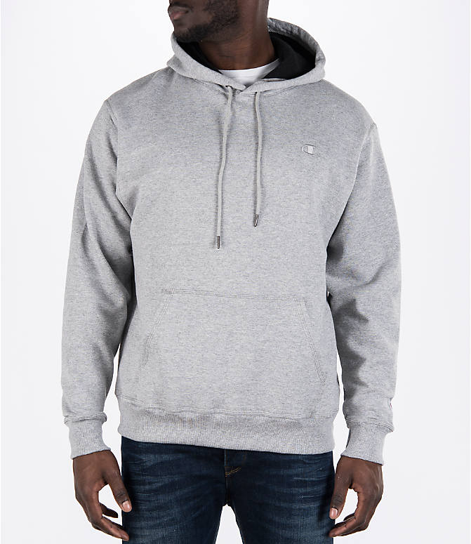 Front view of Men's Champion Powerblend Hoodie in Oxford Grey