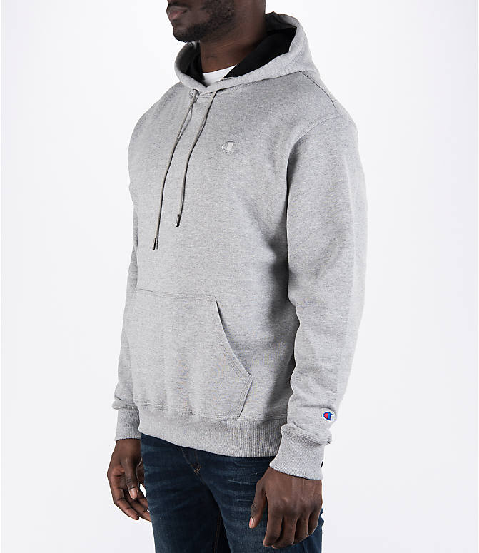 Front Three Quarter view of Men's Champion Powerblend Hoodie in Oxford Grey