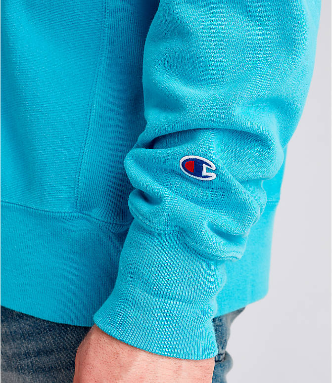 Detail 2 view of Men's Champion Yarn Dyed Rib Trim Crewneck Sweatshirt in Tidal Wave