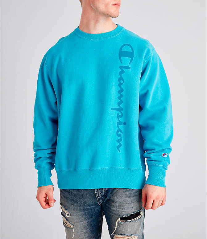 Front view of Men's Champion Yarn Dyed Rib Trim Crewneck Sweatshirt in Tidal Wave