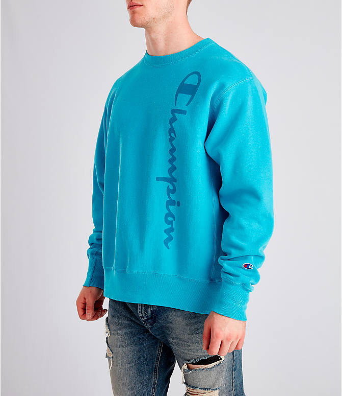 Front Three Quarter view of Men's Champion Yarn Dyed Rib Trim Crewneck Sweatshirt in Tidal Wave
