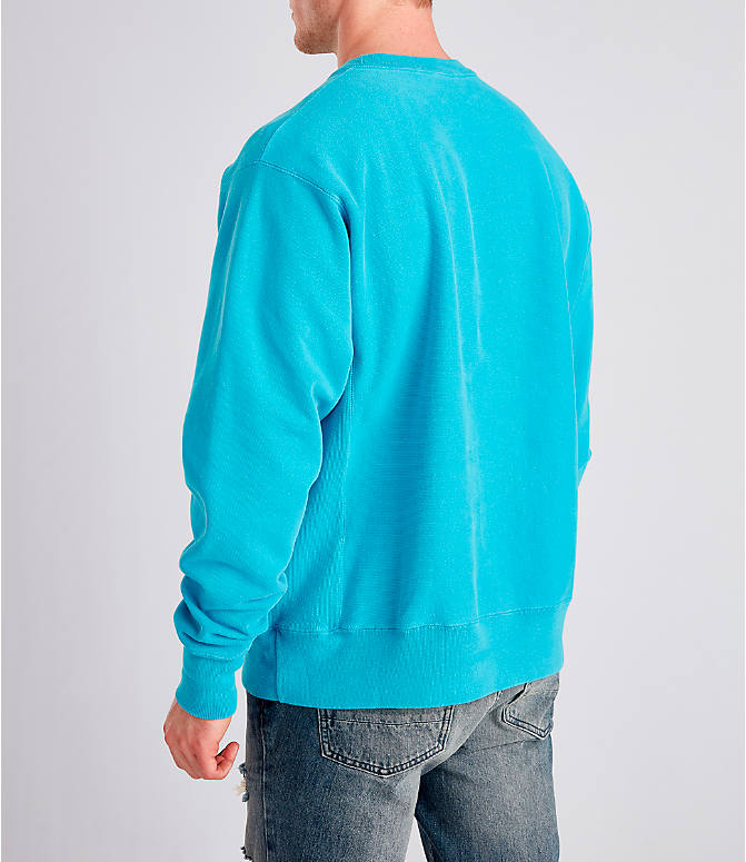 Back Left view of Men's Champion Yarn Dyed Rib Trim Crewneck Sweatshirt in Tidal Wave