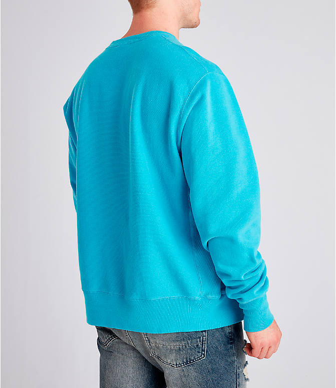 Back Right view of Men's Champion Yarn Dyed Rib Trim Crewneck Sweatshirt in Tidal Wave