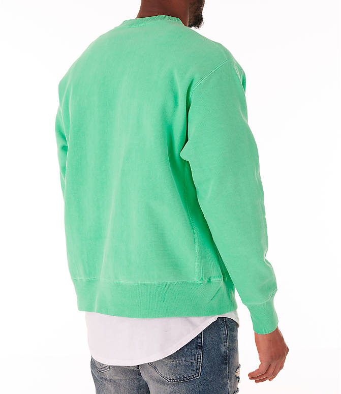 Back Right view of Men's Champion Reverse Weave Garment Dyed Crewneck Sweatshirt in Milkglass Green