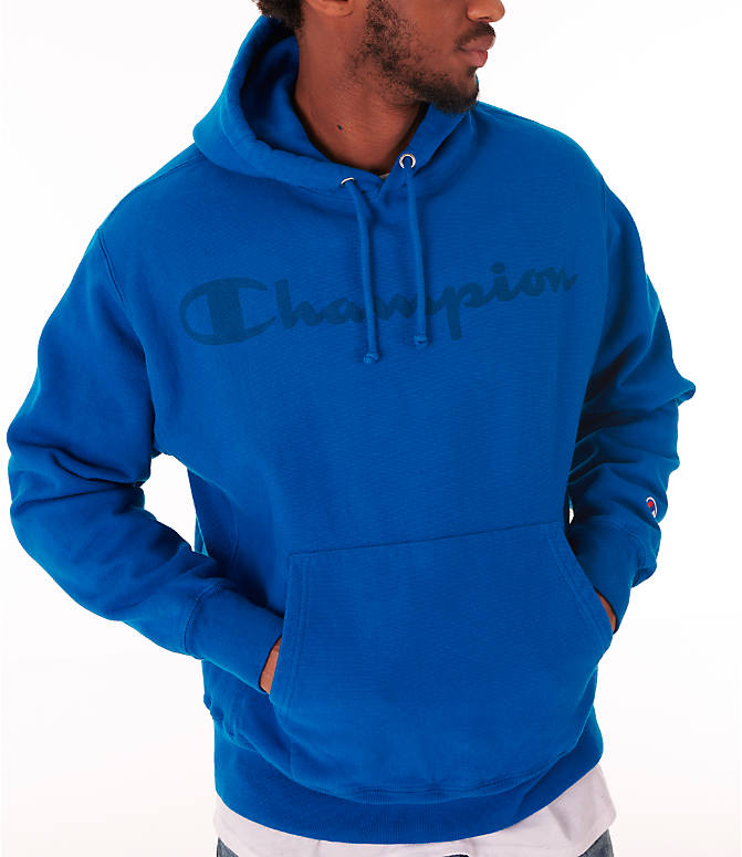 Detail 1 view of Men's Champion Reverse Weave Garment Dyed Graphic Hoodie in Deep Hotline Blue