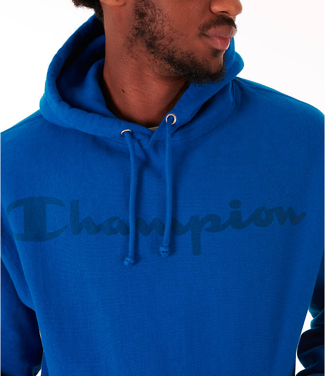 Detail 2 view of Men's Champion Reverse Weave Garment Dyed Graphic Hoodie in Deep Hotline Blue