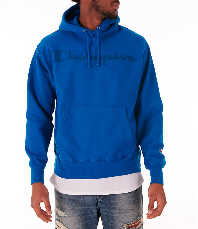 Front view of Men's Champion Reverse Weave Garment Dyed Graphic Hoodie in Deep Hotline Blue