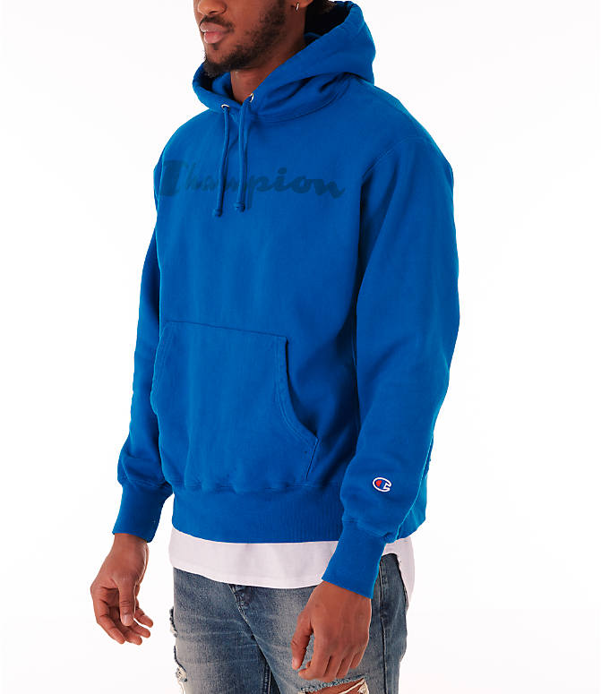 Front Three Quarter view of Men's Champion Reverse Weave Garment Dyed Graphic Hoodie in Deep Hotline Blue