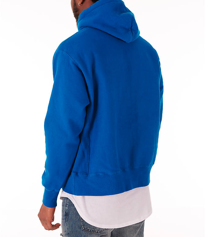 Back Left view of Men's Champion Reverse Weave Garment Dyed Graphic Hoodie in Deep Hotline Blue