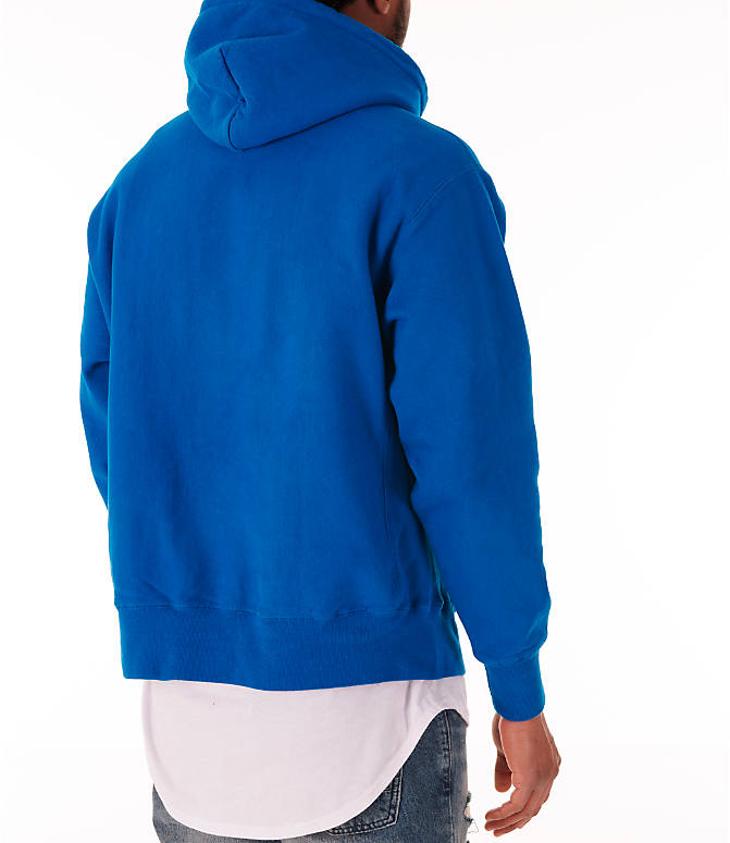 Back Right view of Men's Champion Reverse Weave Garment Dyed Graphic Hoodie in Deep Hotline Blue
