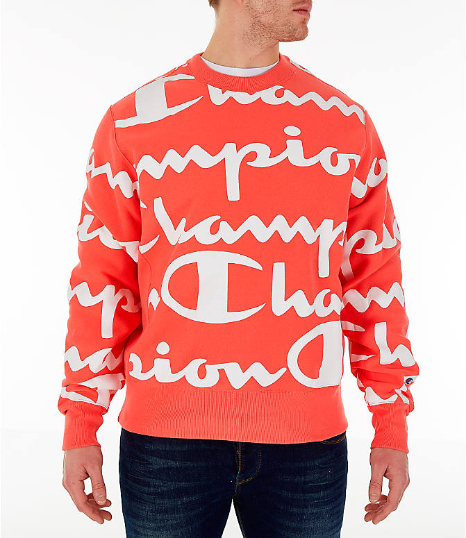 Front view of Men's Champion Reverse Weave Allover Print Large Script Crewneck Sweatshirt in Groovy Papaya
