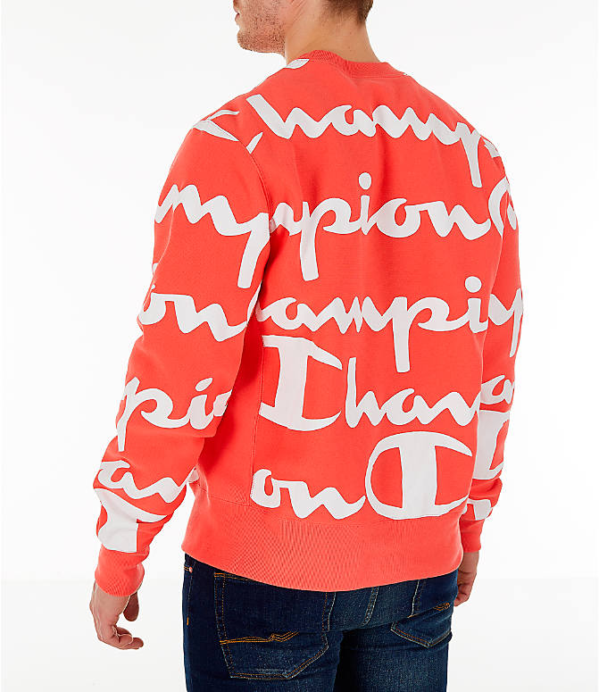 Back Left view of Men's Champion Reverse Weave Allover Print Large Script Crewneck Sweatshirt in Groovy Papaya