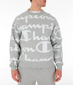 Men's Champion Reverse Weave Allover Print Large Script Crewneck Sweatshirt