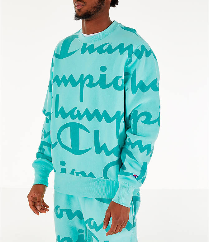 Front Three Quarter view of Men's Champion Reverse Weave Allover Print Crewneck Sweatshirt in Waterfall Green