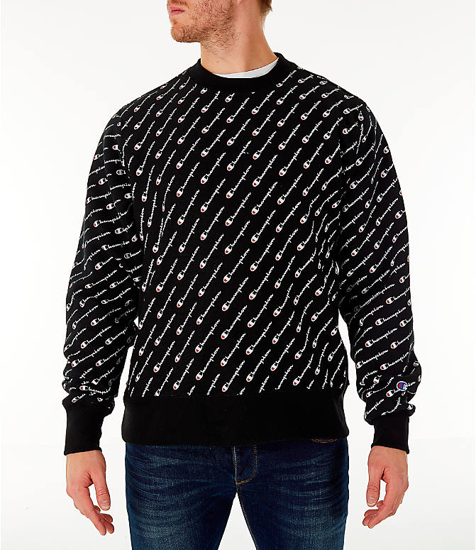 Front view of Men's Champion Allover Print Reverse Weave Crewneck Sweatshirt in Black