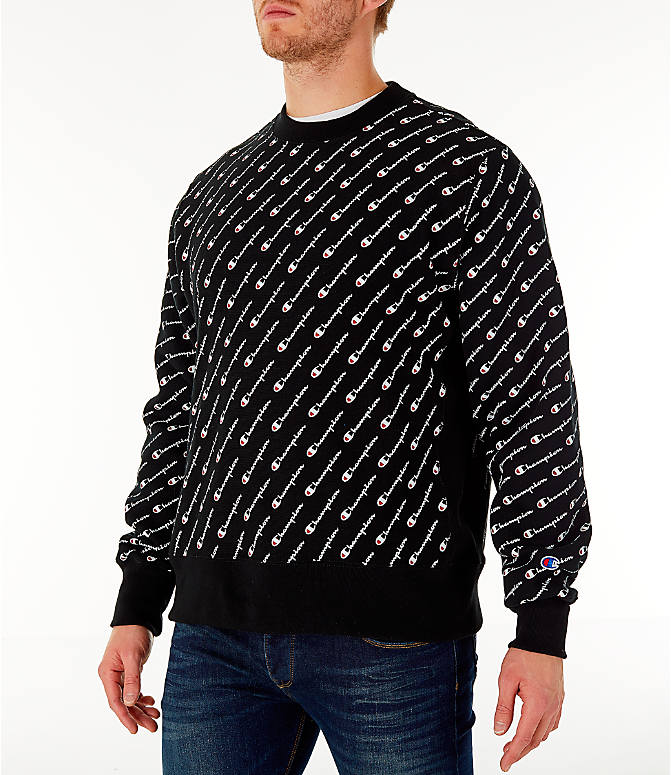Front Three Quarter view of Men's Champion Allover Print Reverse Weave Crewneck Sweatshirt in Black