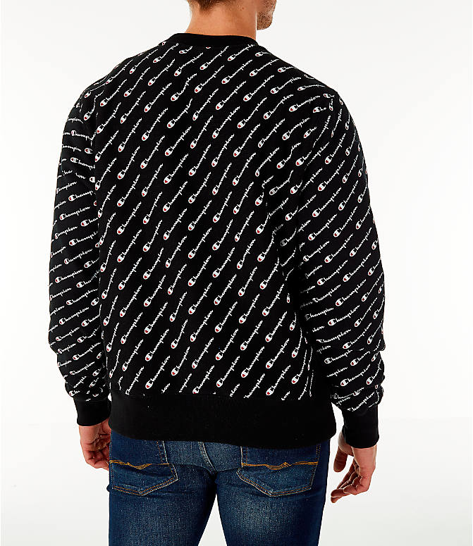 Back Right view of Men's Champion Allover Print Reverse Weave Crewneck Sweatshirt in Black