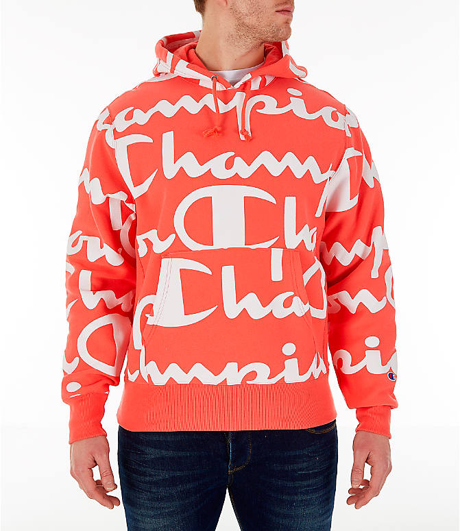 058d730eb21f Front view of Men s Champion Reverse Weave Allover Print Large Script Hoodie  in Groovy Papaya