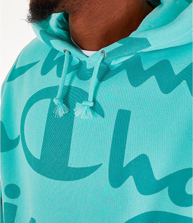 Large Reverse Script Hoodie Allover Champion Men's Weave Print CWBrxode