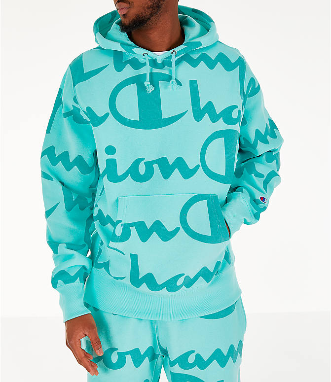 c10aeb76 Front view of Men's Champion Reverse Weave Allover Print Large Script Hoodie  in Waterfall Green