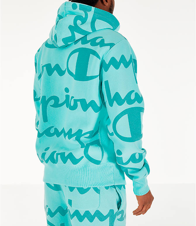 34e7cebc Back Right view of Men's Champion Reverse Weave Allover Print Large Script  Hoodie in Waterfall Green
