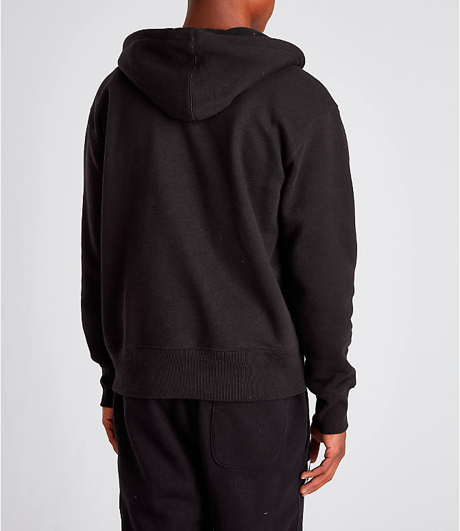Back Right view of Men's Champion Century Collection Felt Logo Hoodie in Black