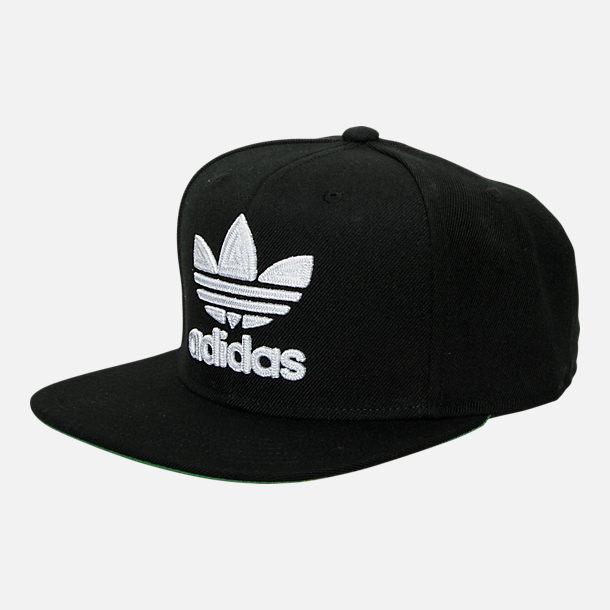 Front view of adidas Originals Trefoil Snapback Hat in Black 6ff815b7d9d