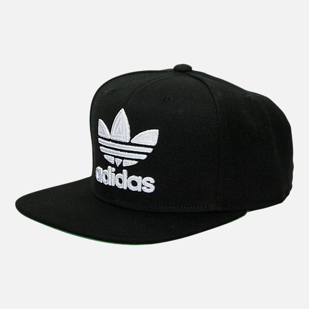 Front view of adidas Originals Trefoil Snapback Hat in Black