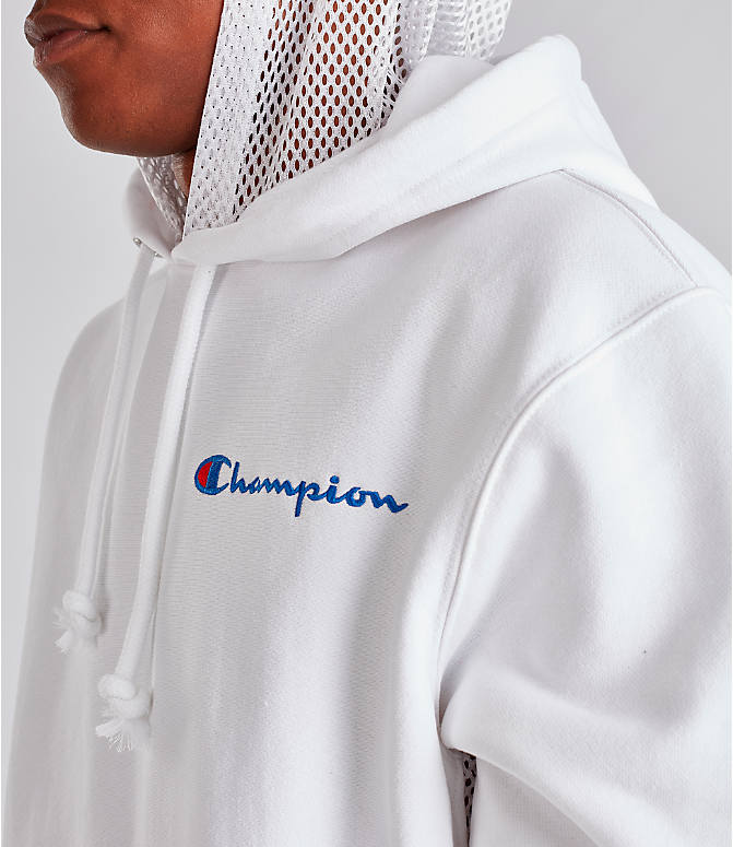Detail 2 view of Men's Champion Reverse Weave Shift Hoodie in White