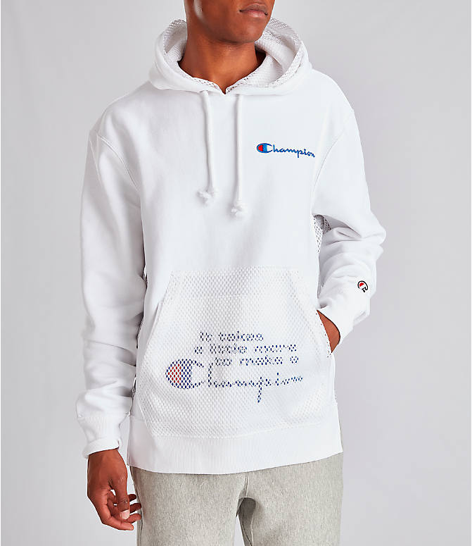 Front view of Men's Champion Reverse Weave Shift Hoodie in White