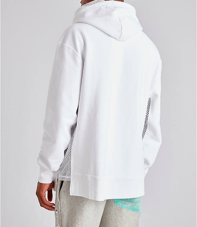 Back Left view of Men's Champion Reverse Weave Shift Hoodie in White