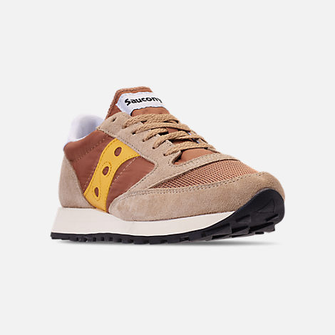 Three Quarter view of Men's Saucony Jazz Original Vintage Casual Shoes in Tan/Yellow