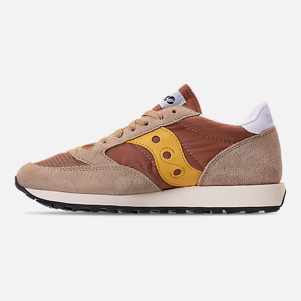 Left view of Men's Saucony Jazz Original Vintage Casual Shoes in Tan/Yellow