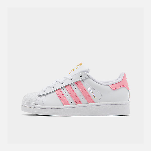 buy popular 3d3b6 8de12 Right view of Girls  Big Kids  adidas Superstar Casual Shoes in White Pink