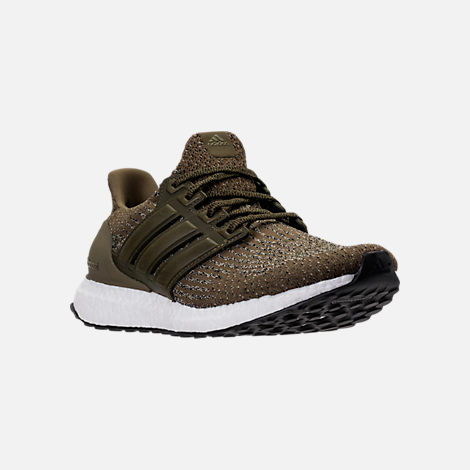 Three Quarter view of Men's adidas UltraBOOST Running Shoes in Trace Olive/Trace Khaki