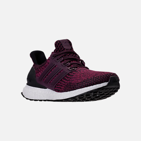 Three Quarter view of Women's adidas UltraBOOST Running Shoes in Red Night/Mystery Ruby/Core Black