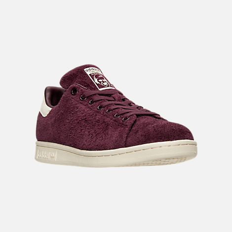 Three Quarter view of Men's adidas Stan Smith Bounce Suede Casual Shoes in Maroon