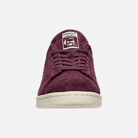Front view of Men's adidas Stan Smith Bounce Suede Casual Shoes in Maroon