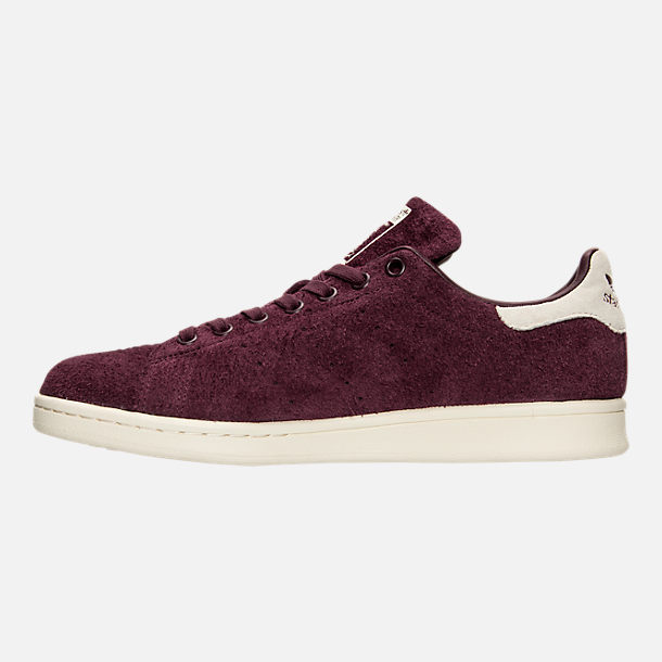 Left view of Men's adidas Stan Smith Bounce Suede Casual Shoes in Maroon