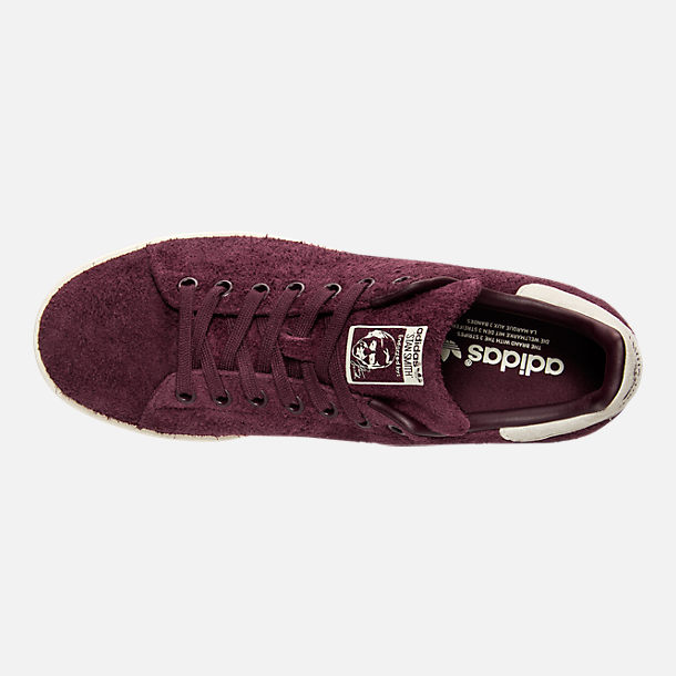 Top view of Men's adidas Stan Smith Bounce Suede Casual Shoes in Maroon