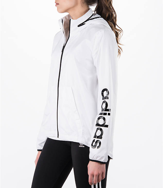 Front Three Quarter view of Women's adidas Linear Training Windbreaker Jacket in White
