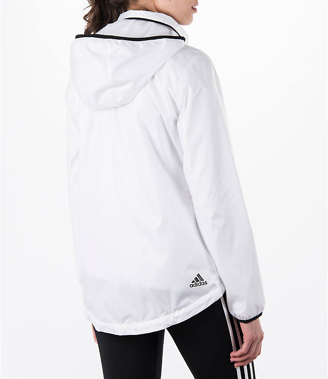 Back Right view of Women's adidas Linear Training Windbreaker Jacket in White