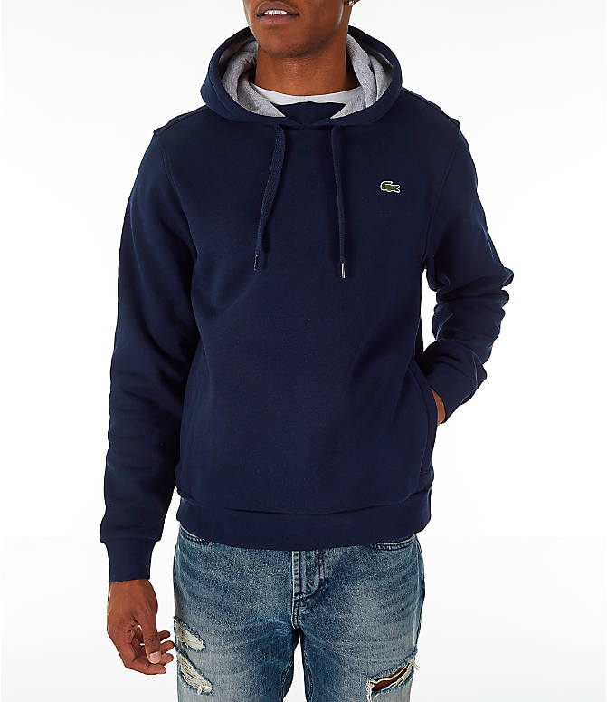 Front view of Men's Lacoste Tennis Hoodie in Navy