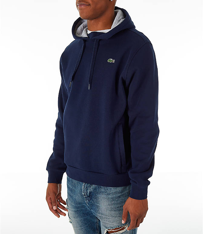 Front Three Quarter view of Men's Lacoste Tennis Hoodie in Navy