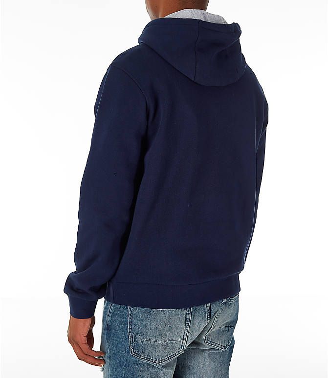 Back Left view of Men's Lacoste Tennis Hoodie in Navy