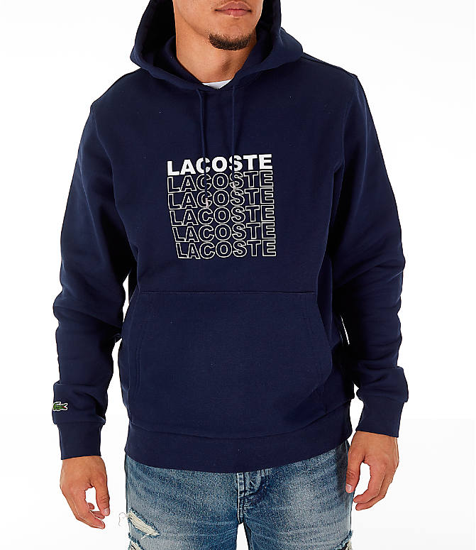 Front view of Men's Lacoste Allover Print Hoodie in Navy Blue