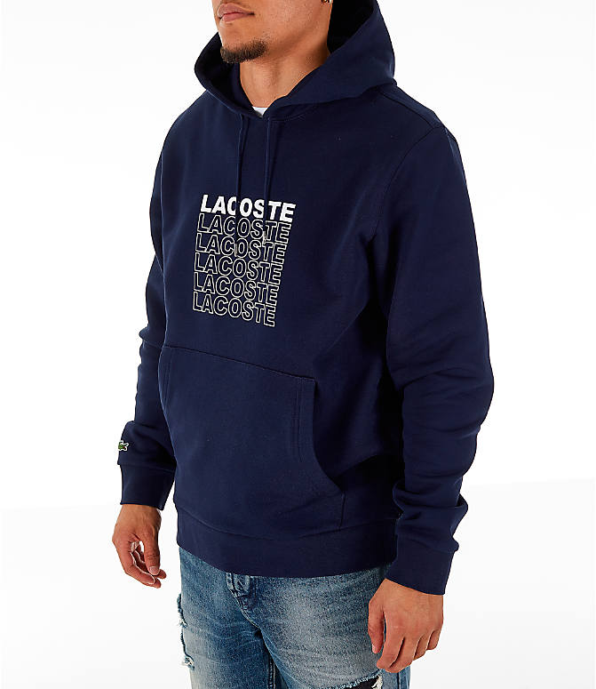 Front Three Quarter view of Men's Lacoste Allover Print Hoodie in Navy Blue